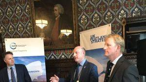 Rob Stoneman at the House of Commons flanked by Rob Brown and Julian Sturdy
