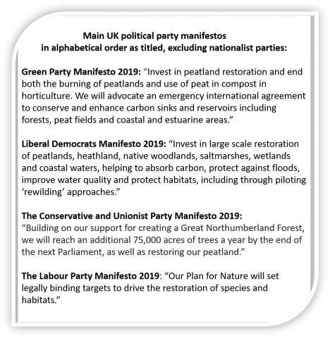 Peatland excerpts from UK main political party manifestos