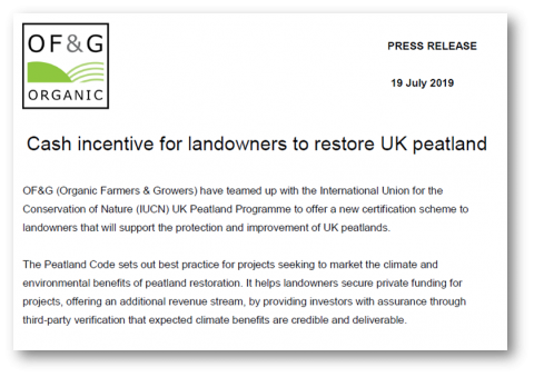 OF&G Press Release - Cash incentive for landowners to restore peatlands