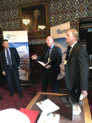 Rob Stoneman at the House of Commons flanked by Ron Brown and Julian Sturday