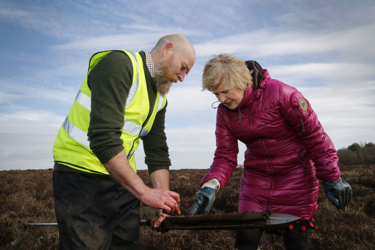 Andrew McBride and Roseanna Cunningham MSP on Red Moss of Balerno
