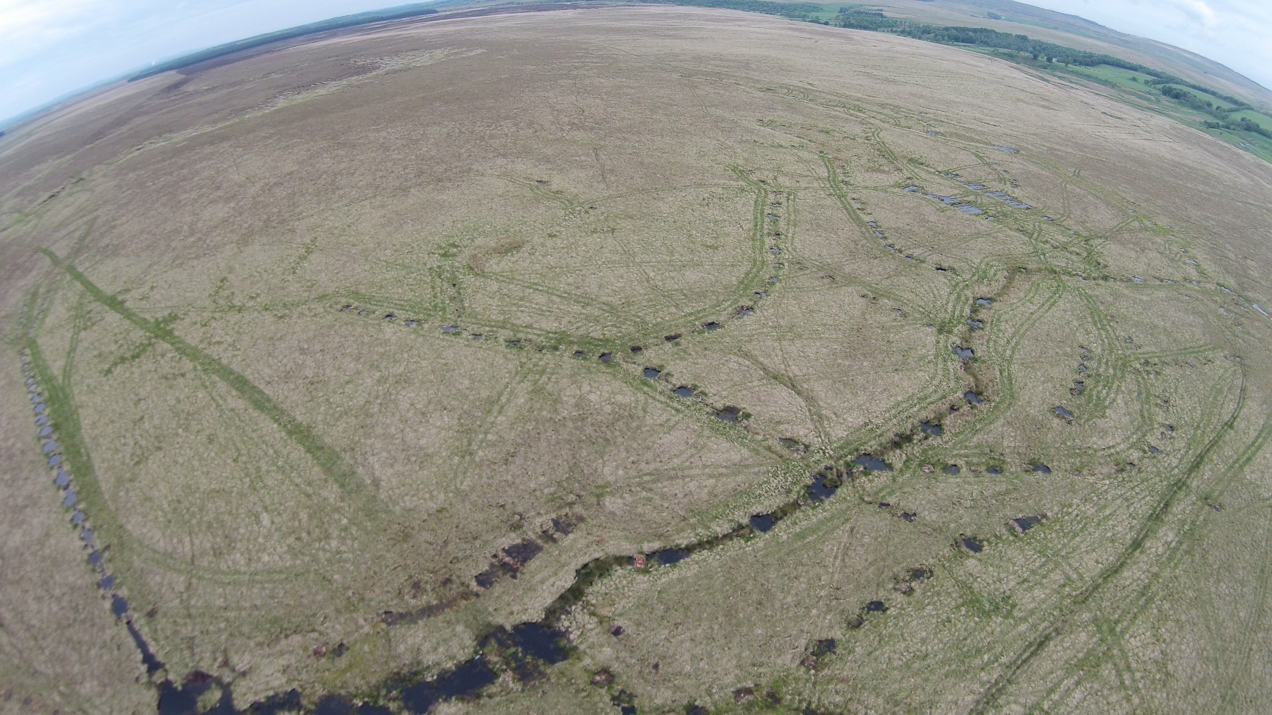Aerial view of Airds Moss ditch blocking