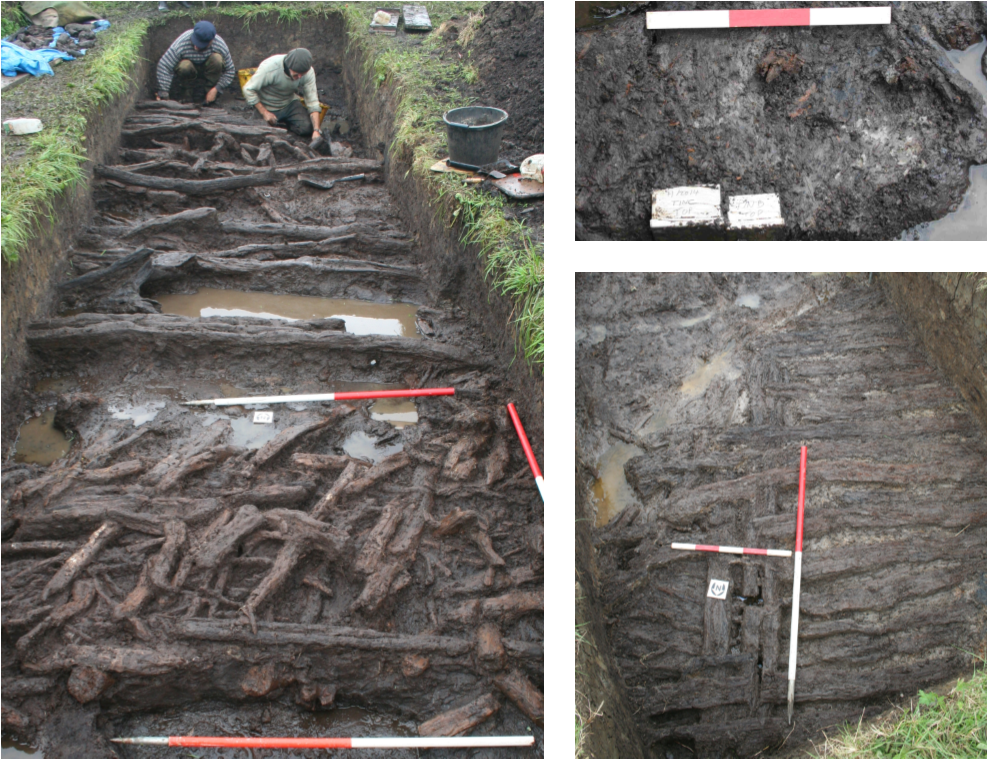 Image: Wooden floor of an Iron Age roundhouse revealed in excavations at Glastonbury lake Village (left); Excavation of a sequence of collapsed wooden palisades at the perimeter of the Glastonbury Lake Village (top right); Sampling of sequential floor deposits from an Iron Age roundhouse, with three wall stakes of the building visible near the top of the image (bottom right) © South West Heritage Trust.